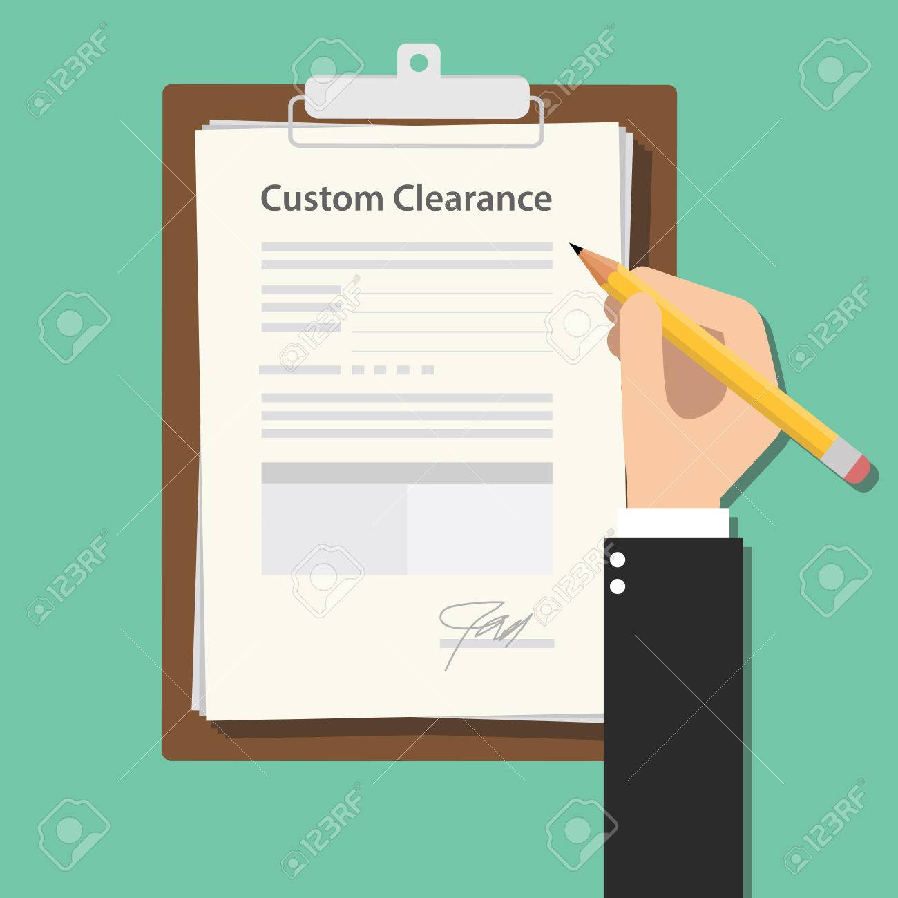 custom clearance hand signing a paper document work on clipboard rh 123rf com clipboard vector graphic clipboard vector free