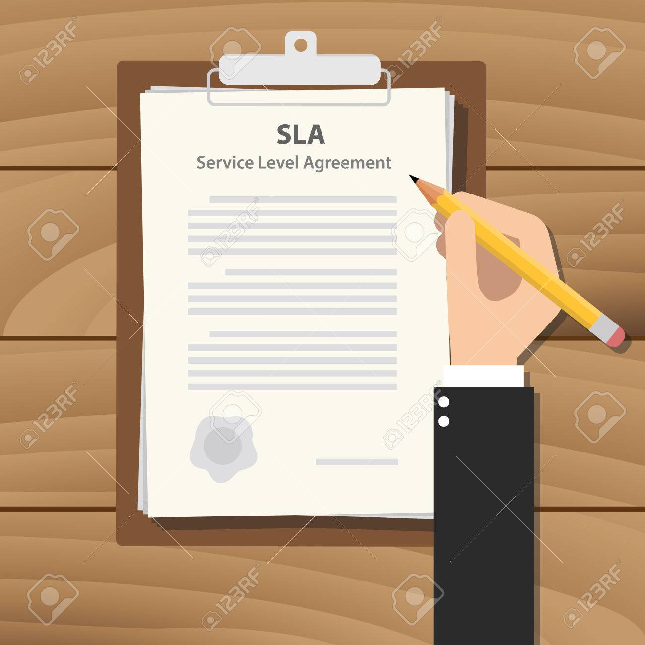Sla Service Level Agreement Illustration With Business Man Signing A Paper  Work On Clipboard On Wooden