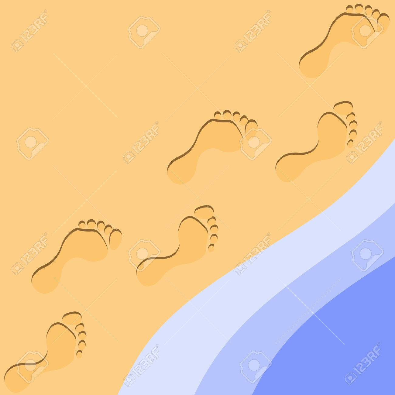 Foot Prints in the Sand Stock Vector - 3310584