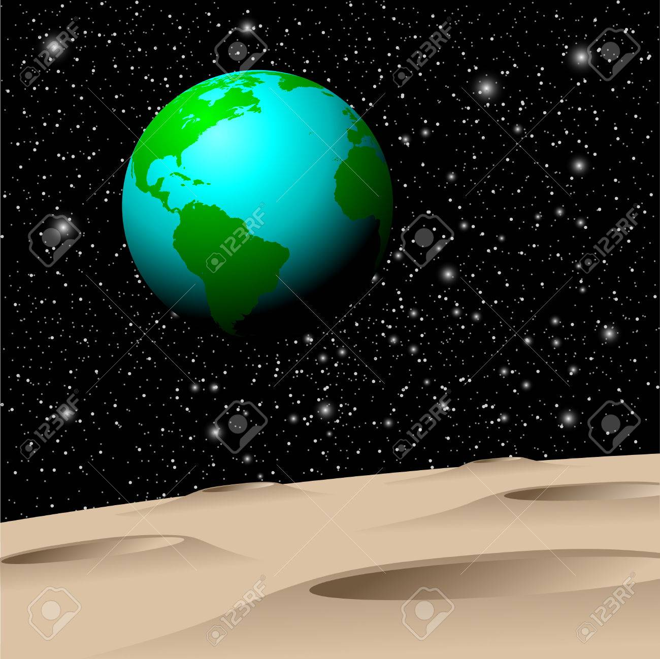 View of Planet Earth from the Moon Stock Vector - 3350484