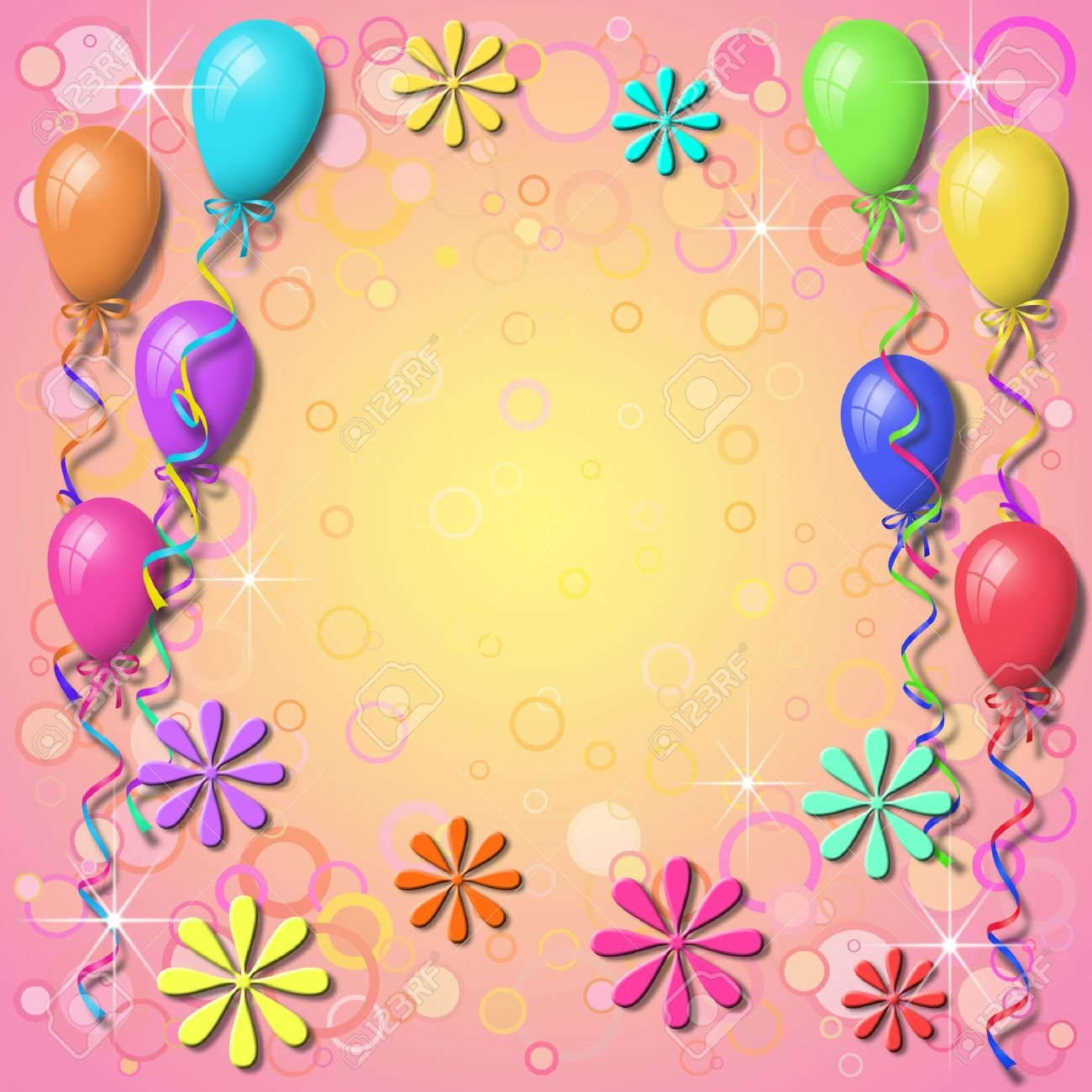 Balloon Background Border With Circles Stock Photo, Picture And ...