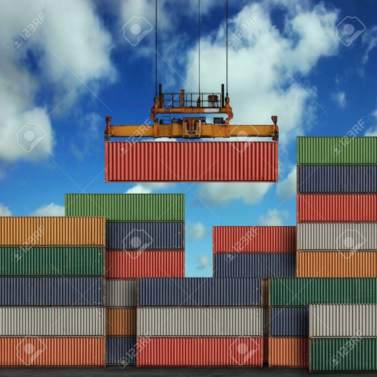 Stack of freight containers at the docks Stock Photo - 5268756