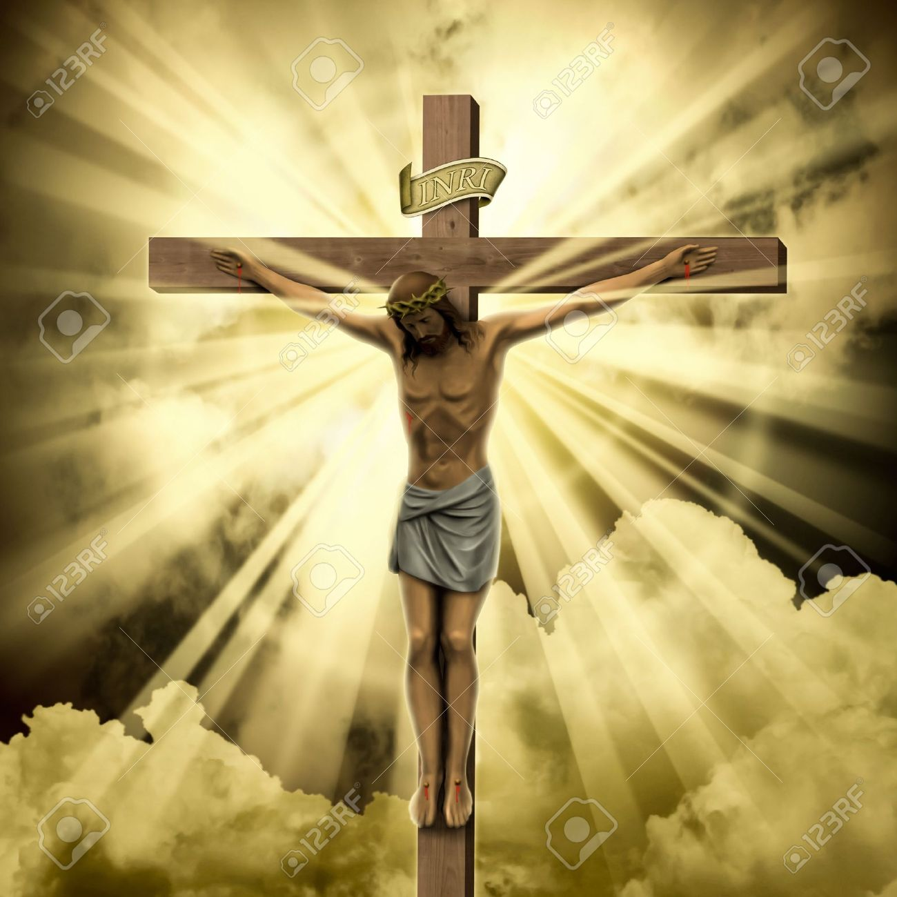 jesus christ on the cross with clouds stock photo picture and