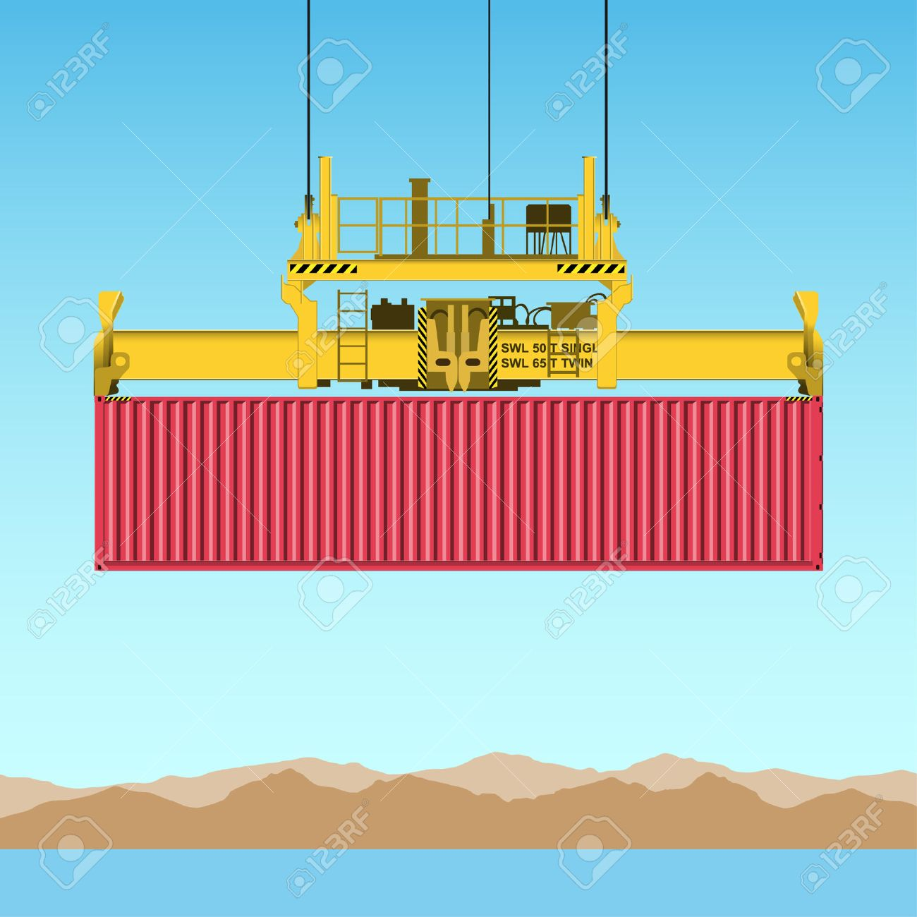 A Freight Containers on Crane at the Docks Stock Vector - 7458105