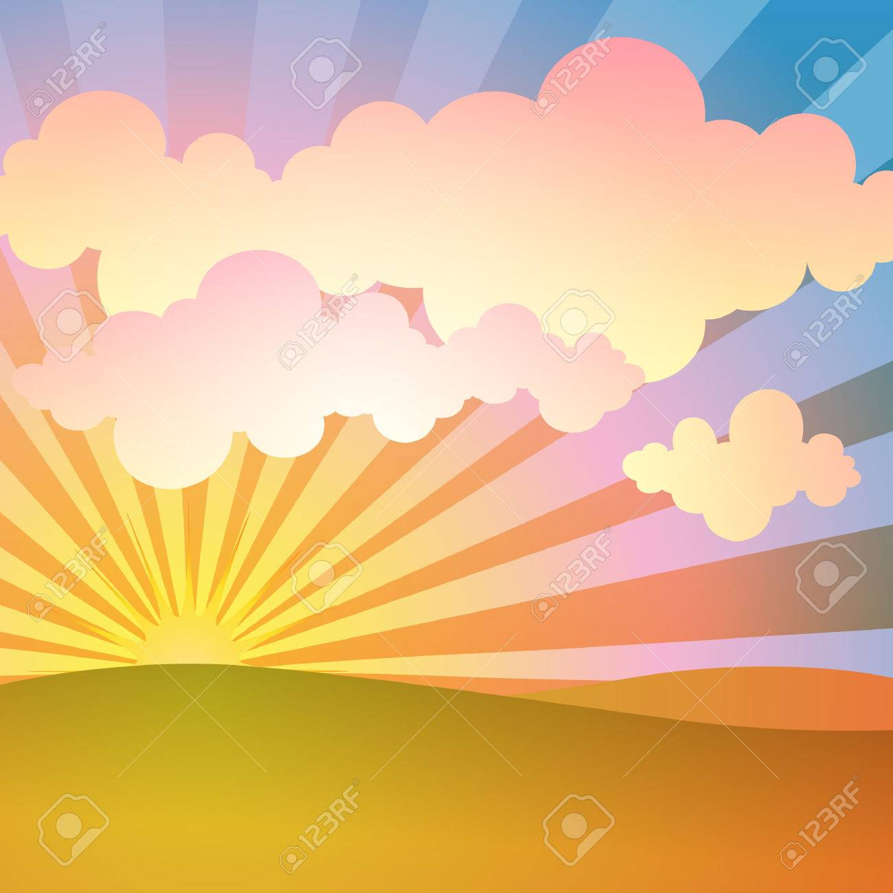 A Simple Landscape Background with Sunrise, Sunset Stock Vector - 8697798