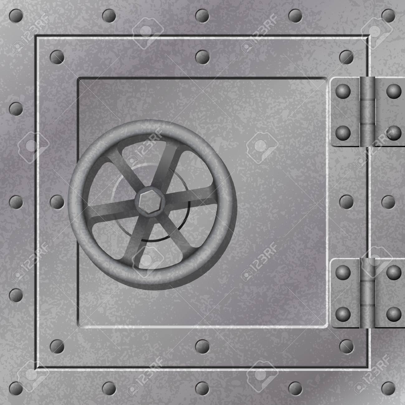 vault door a steel strong box door with hinges and rivets