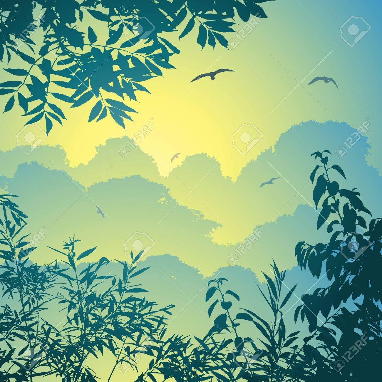A Forest Landscape with Trees and Leaves Stock Vector - 9720829