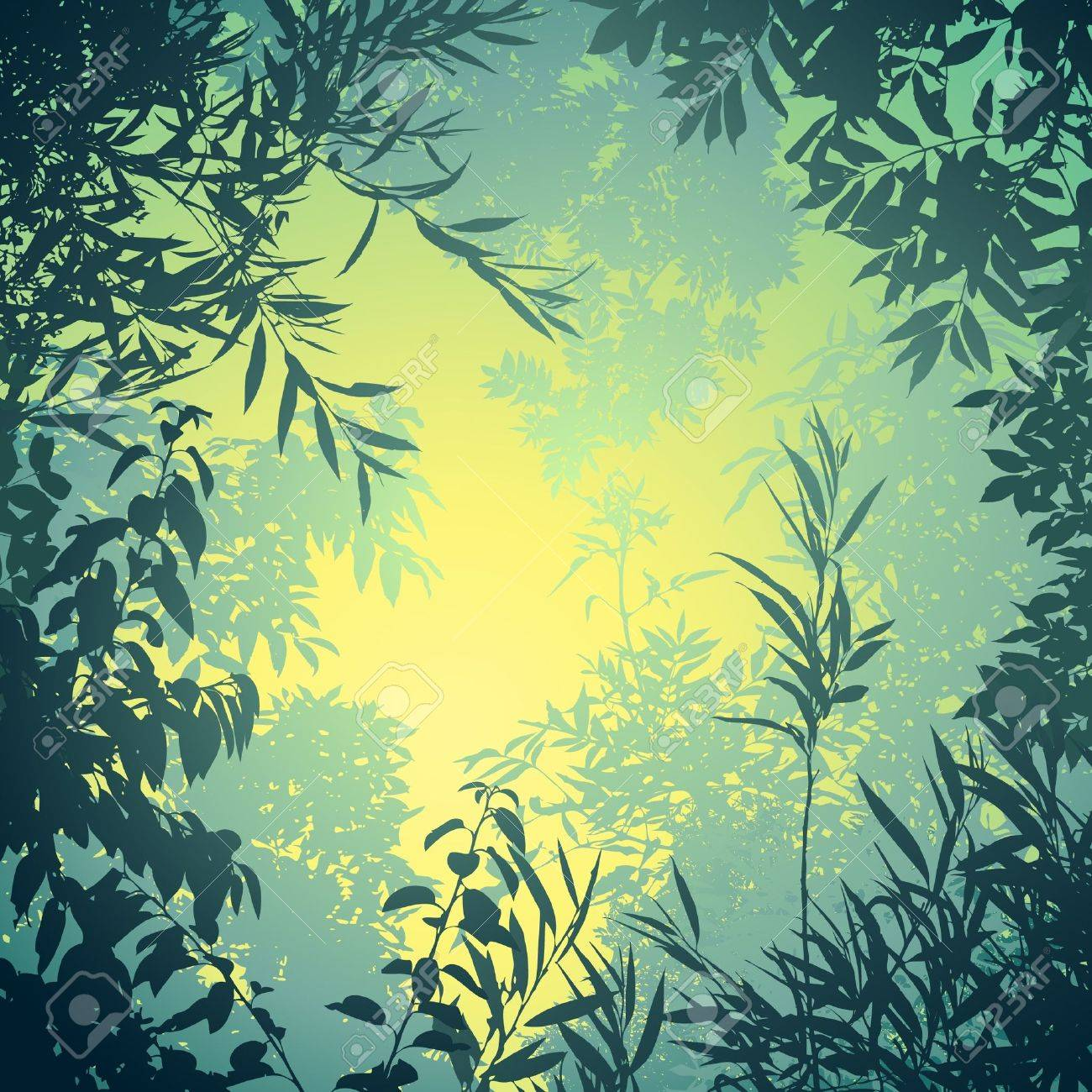 A Floral Background with Trees and Leaves Stock Vector - 10291215