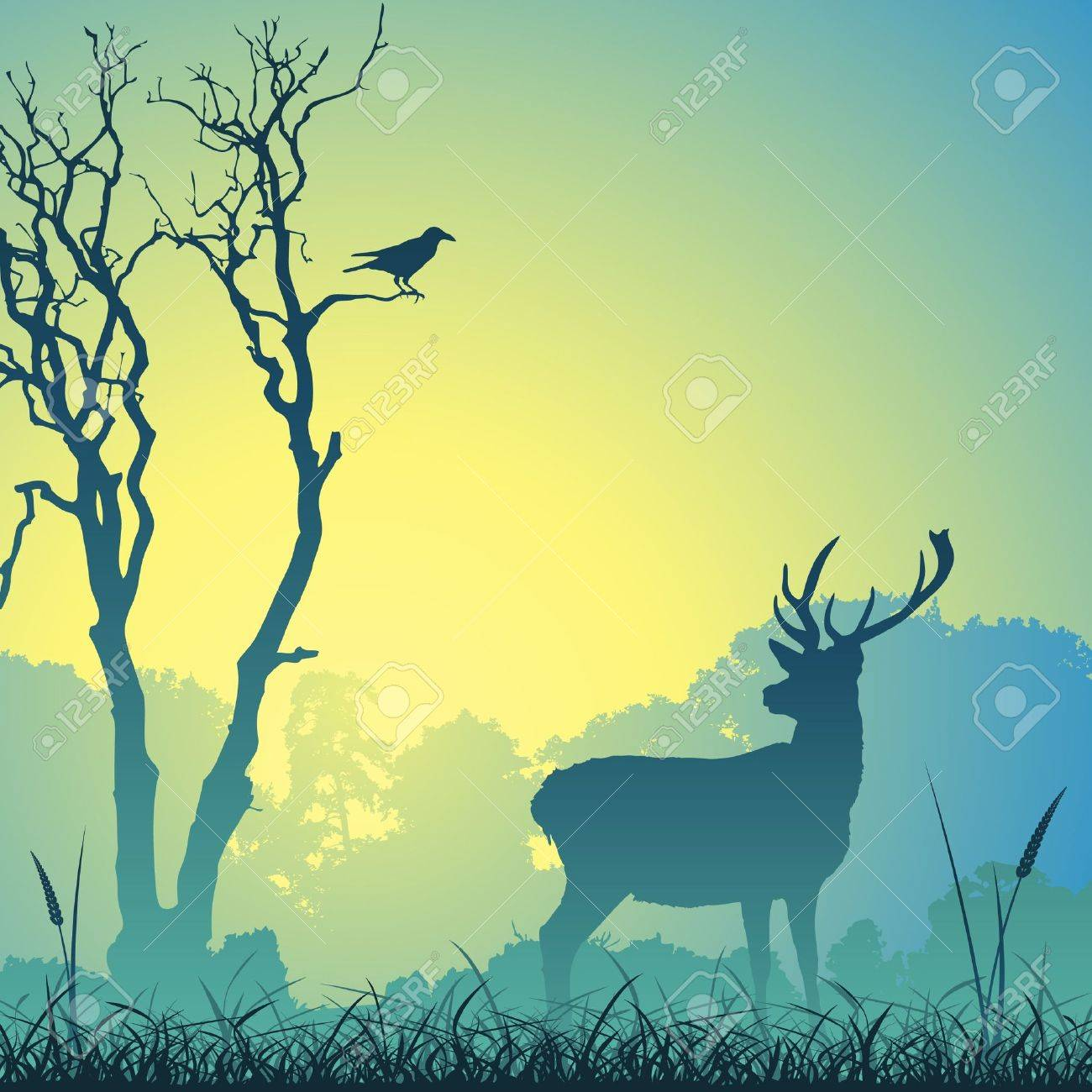Male Stag Deer on a Meadow with Trees and Bird Stock Vector - 10291211