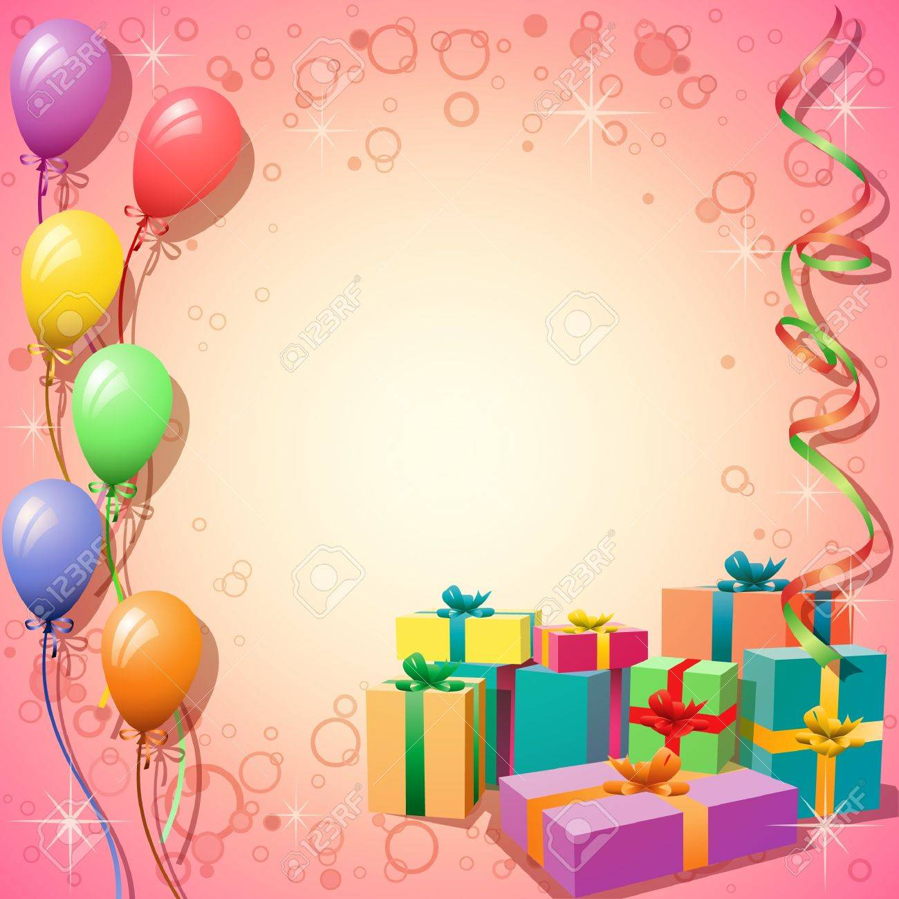 Balloon Background with Streamers and Gift Boxes Stock Vector - 10554687