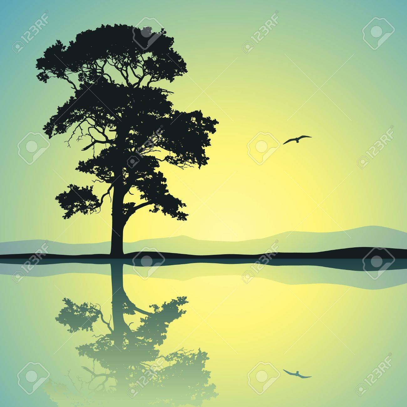 A Single Tree Standing Alone with Reflection in Water Stock Vector - 12349930