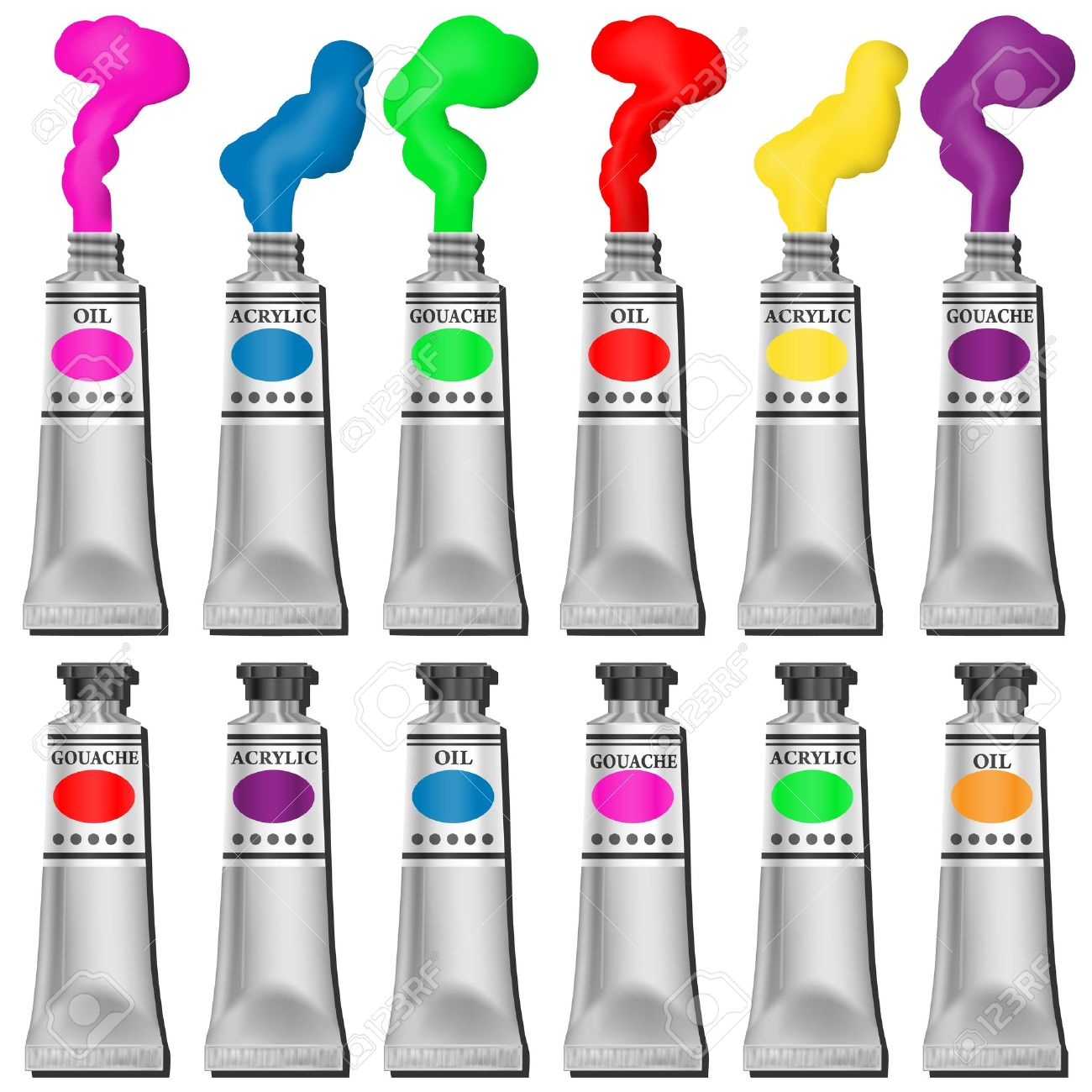 A Selection of Paint Tubes Stock Vector - 12349932
