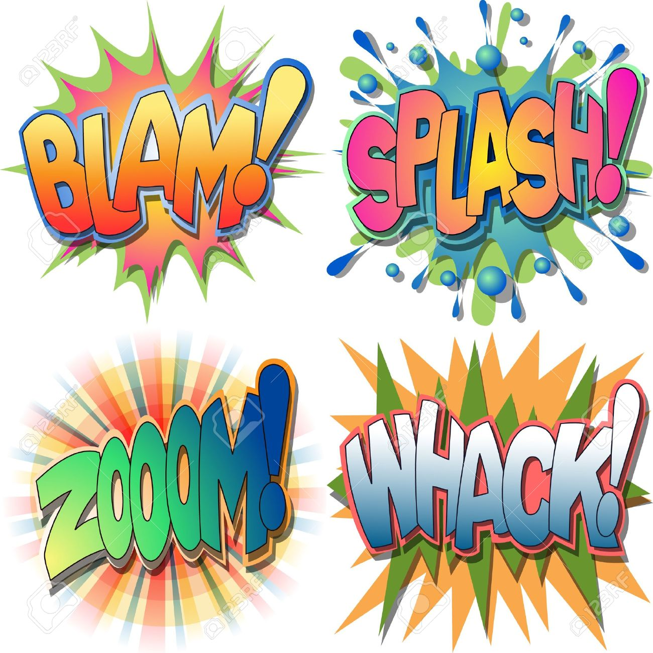 A Selection Of Comic Book Exclamations And Action Word IllustrationsBlam SplashZoom