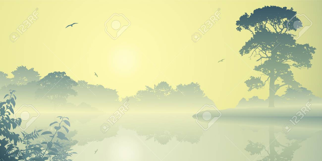 A Misty River Landscape with Sunrise, Sunset Stock Vector - 14559898