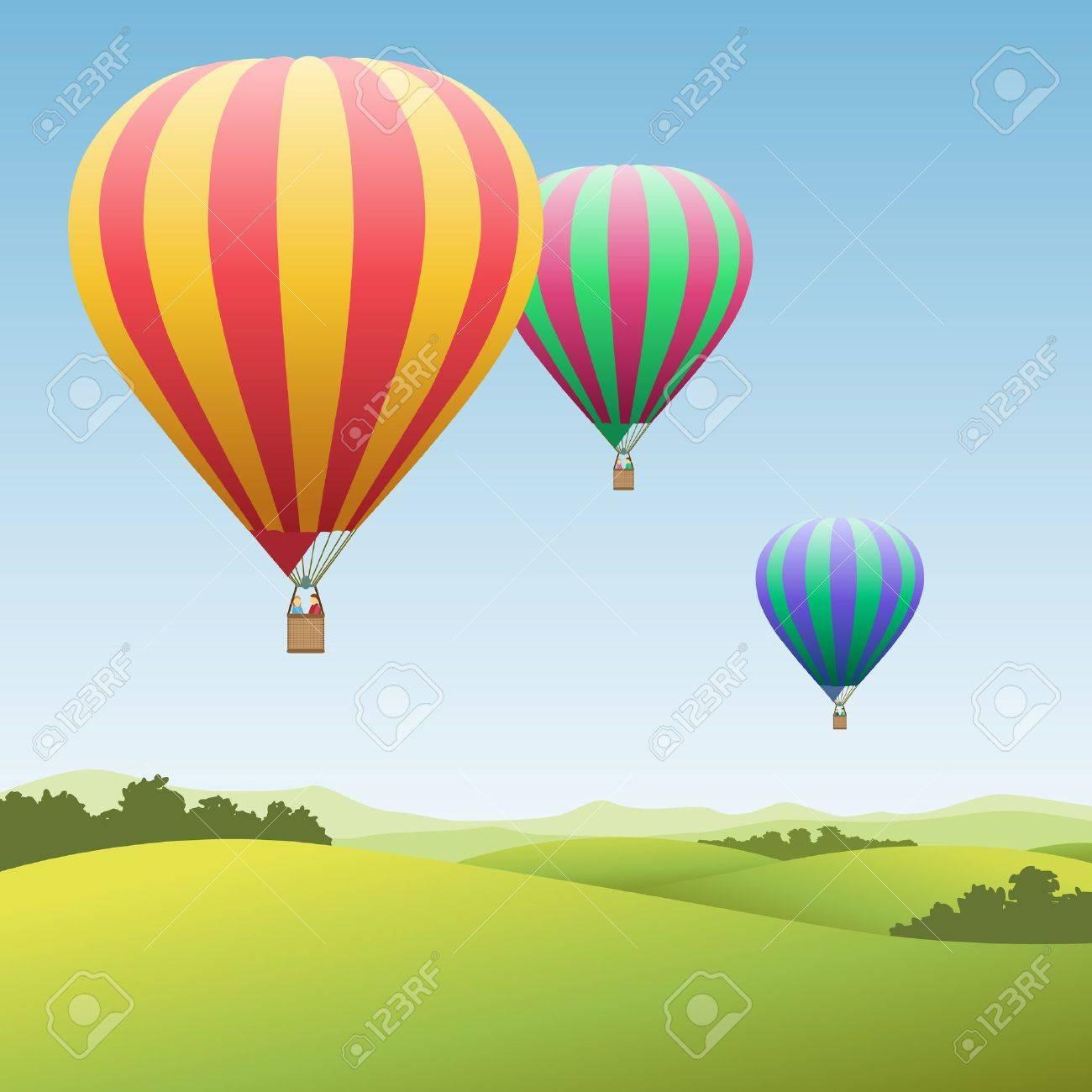 Three Colorful Hot Air Balloons - 14559889