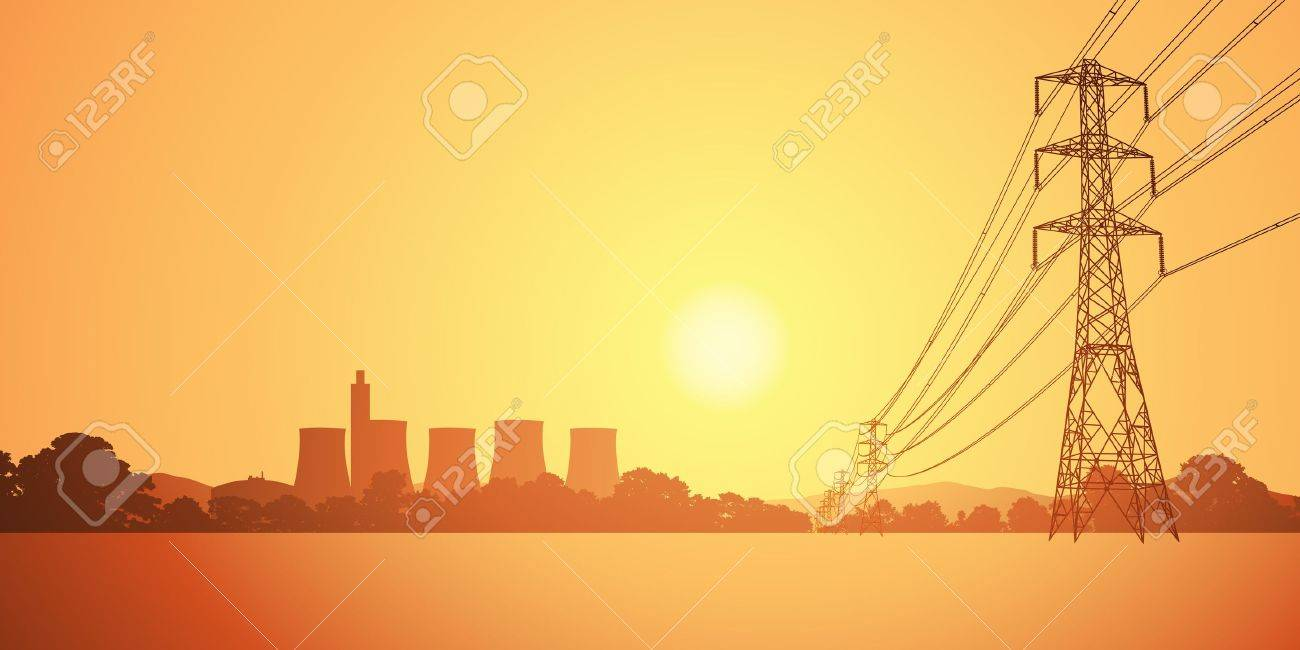 Electrical Power Lines and Electricity Plant with Cooling Towers Stock Vector - 14951669