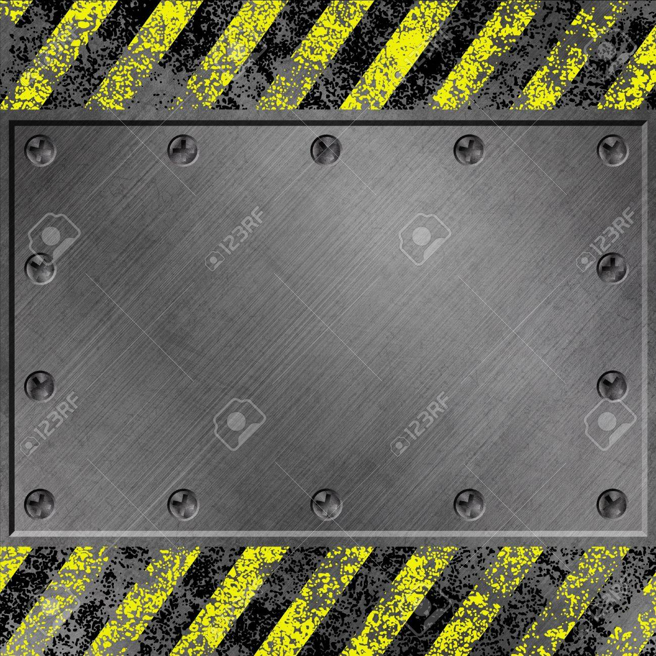 A Grunge Metal Background with Black and Yellow Stripes and Screws Stock Photo - 15058010