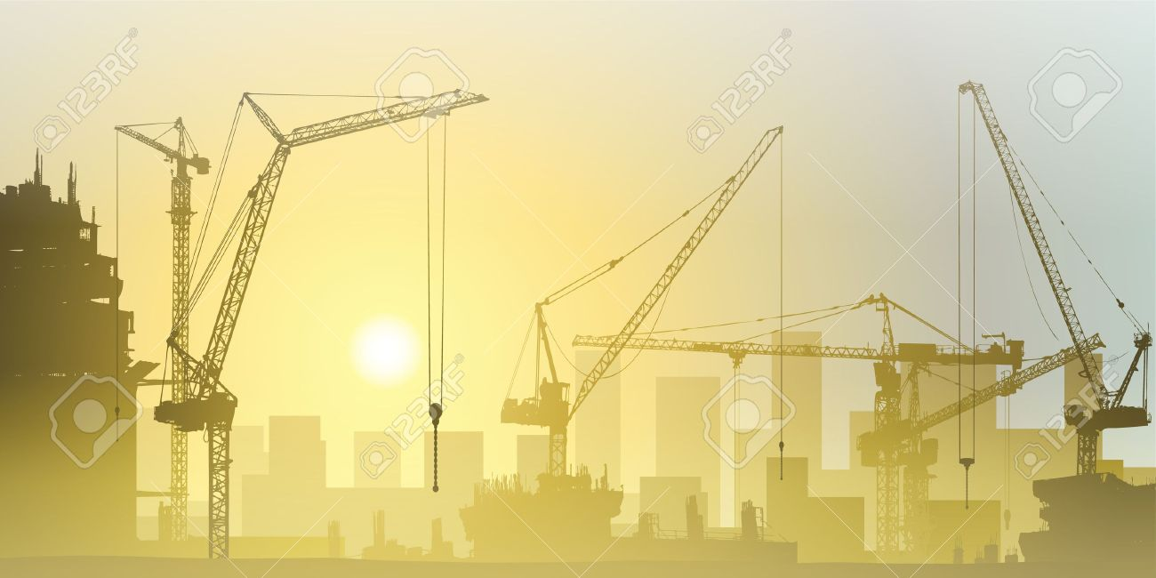 Lots of Tower Cranes on Construction Site Stock Vector - 15058022