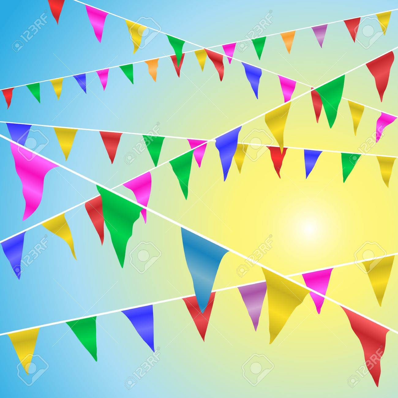 Bunting Flags Blowing in the Wind Against A Blue Sky Stock Vector - 17622448