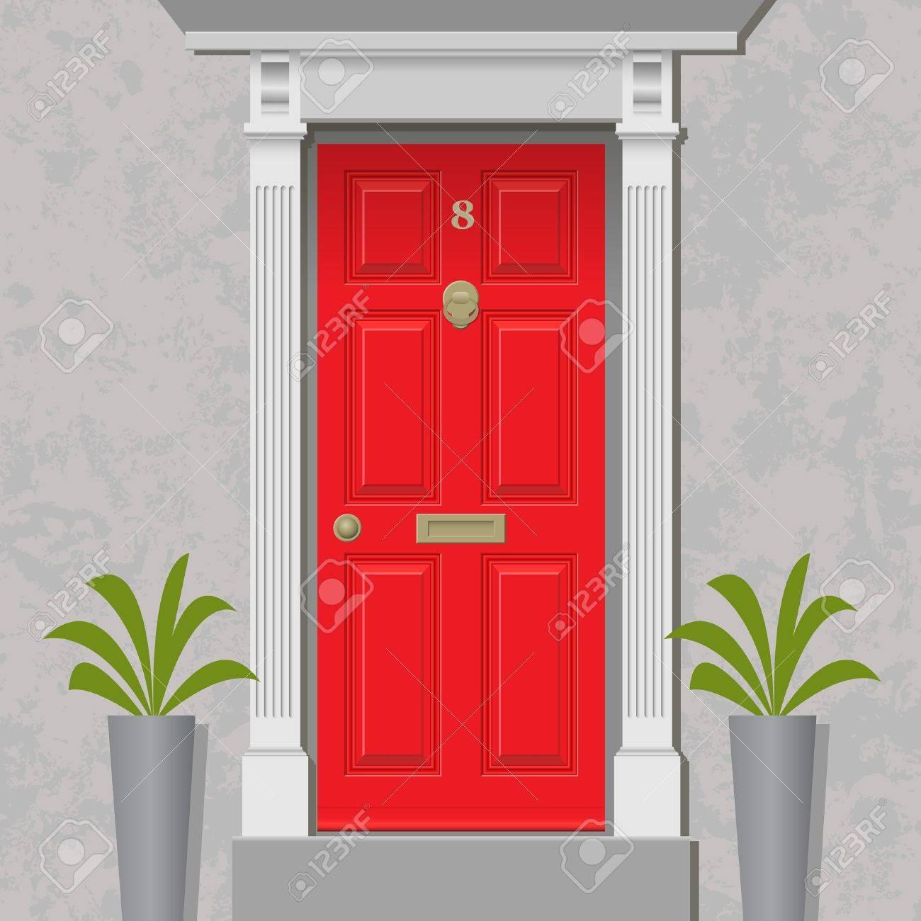 Ein Old Style Haustür Rot Mit Messing Lizenzfrei Nutzbare