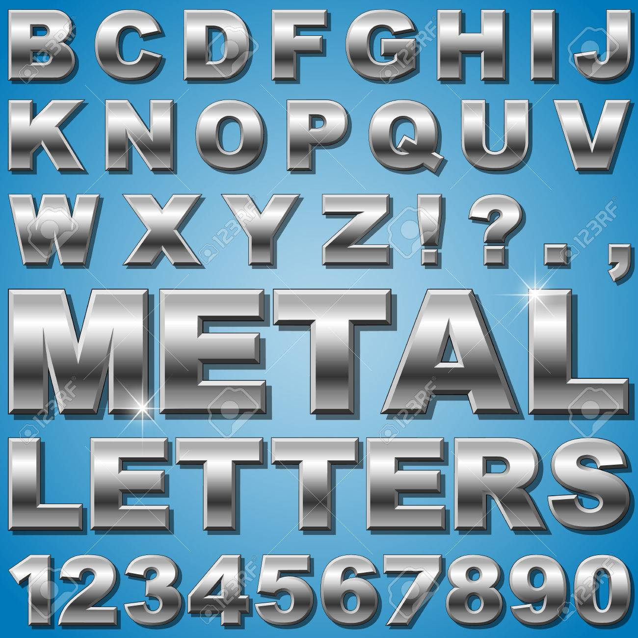 Metal Letters And Numbers An Alphabet Sit Of Shiny Metal Letters And Numbers Royalty Free
