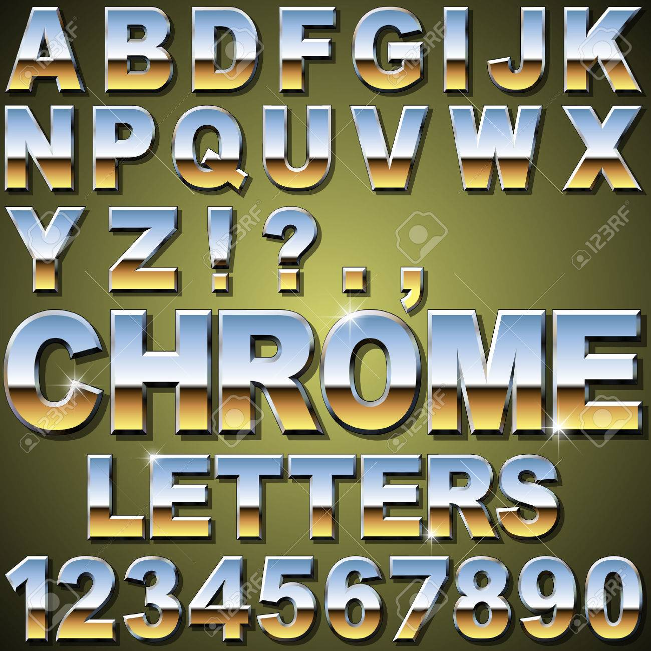 Metal Letters And Numbers Extraordinary An Alphabet Sit Of Shiny Chrome Metal Letters And Numbers Royalty Design Ideas