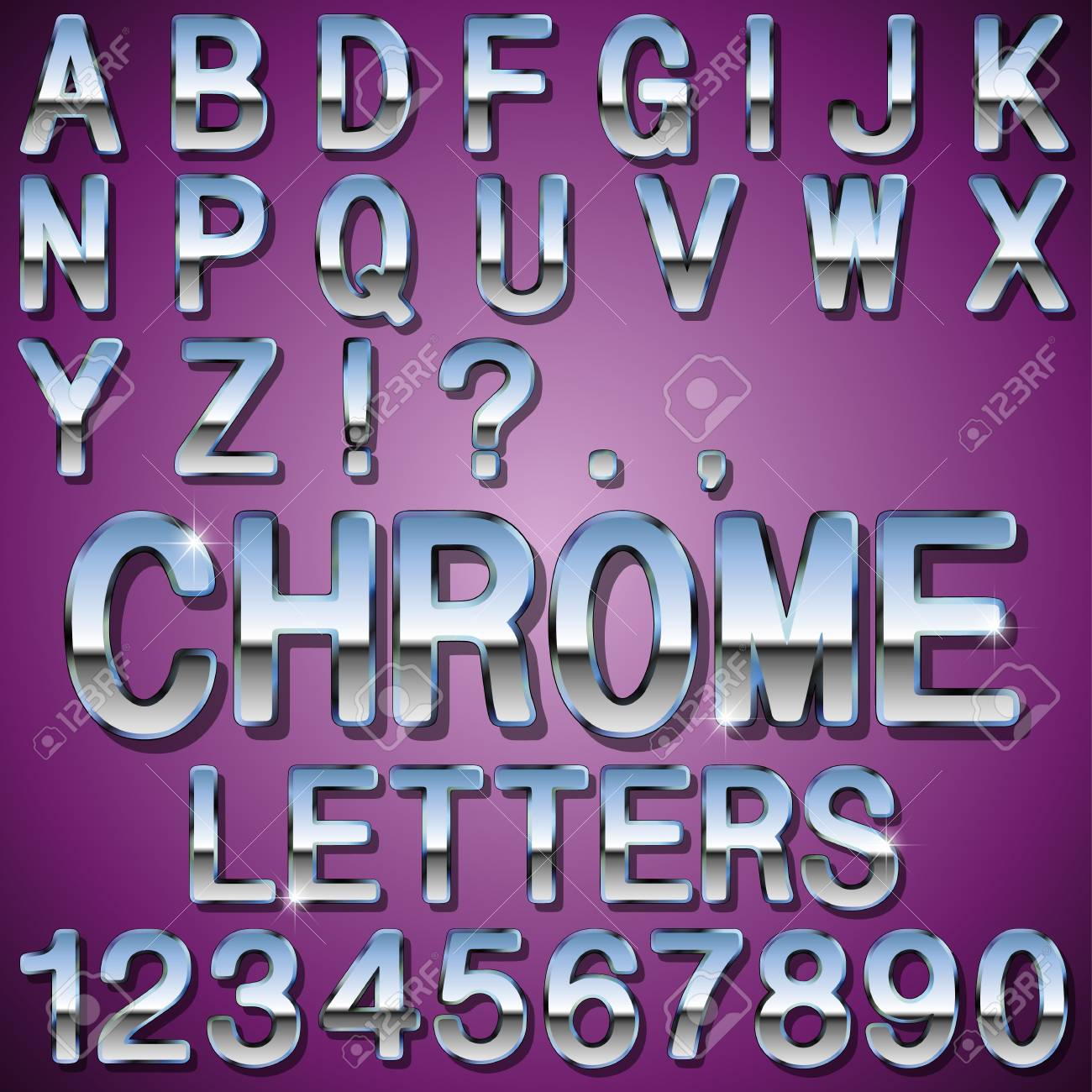 Metal Letters And Numbers Mesmerizing An Alphabet Sit Of Shiny Chrome Metal Letters And Numbers Royalty Decorating Design