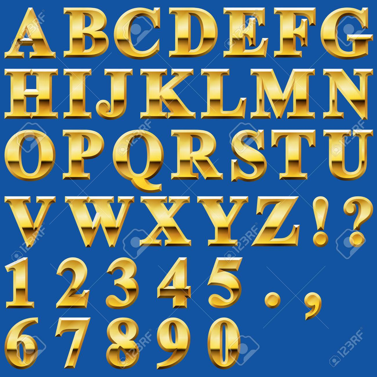 Metal Letters And Numbers Stunning An Alphabet Sit Of Shiny Gold Metal Letters And Numbers Royalty Design Decoration