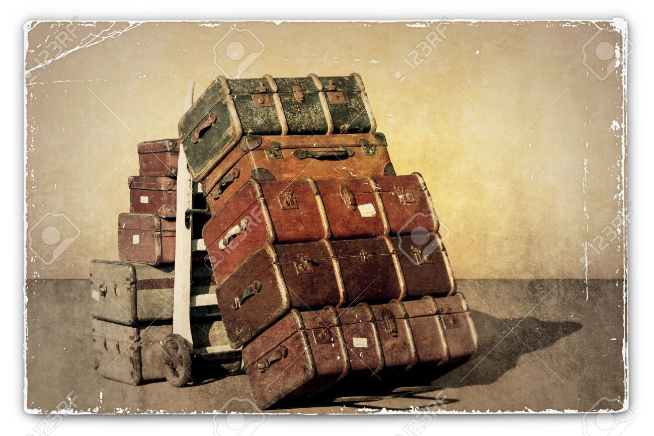Old Suitcases Part - 43: A Vintage Grunge Photograph Of A Pile Of Old Suitcases - Luggage Stock  Photo - 26584995