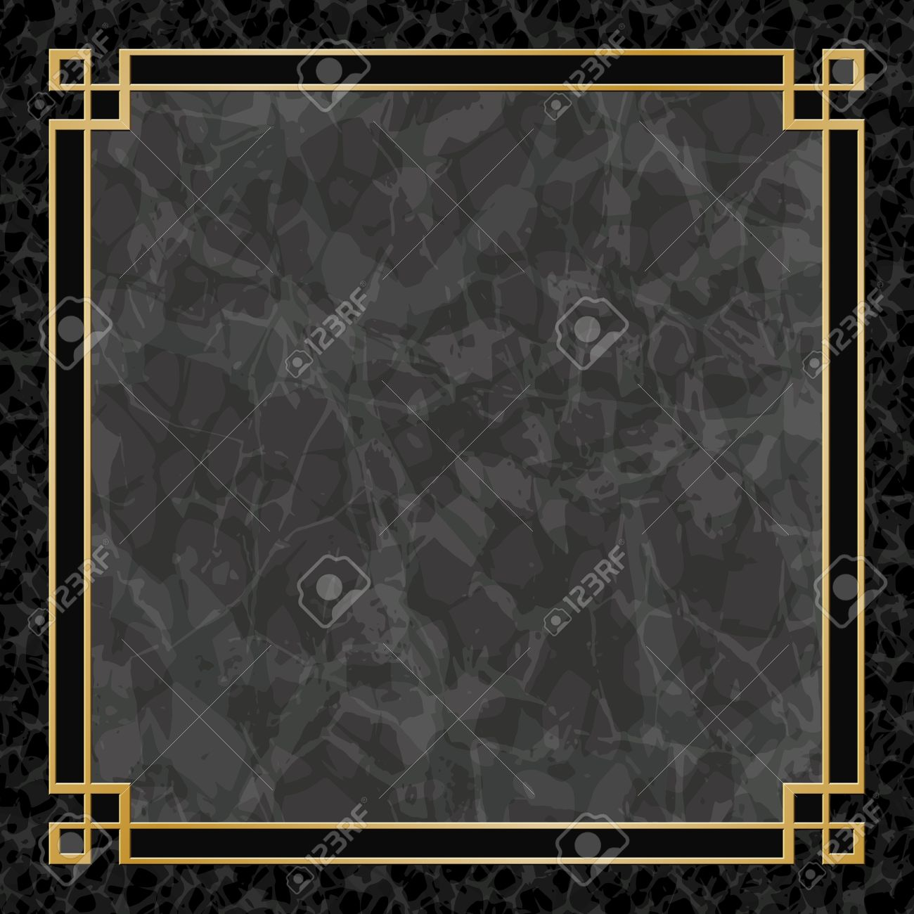 A Black Marble Backgrounds With Gold Frame Border Royalty Free