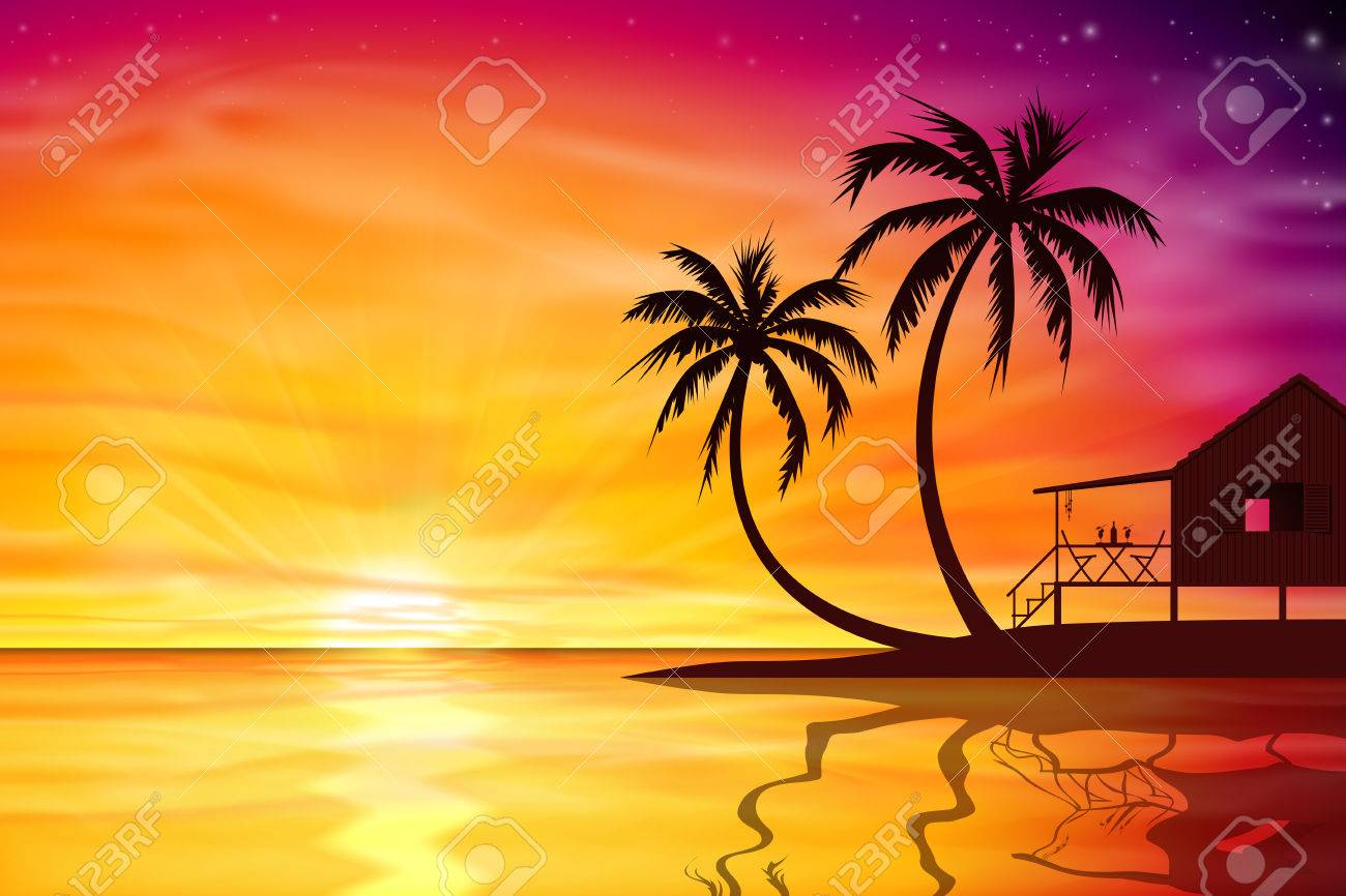 A Beautiful Sunset Sunrise With Palm Trees And Beach Nut Vector