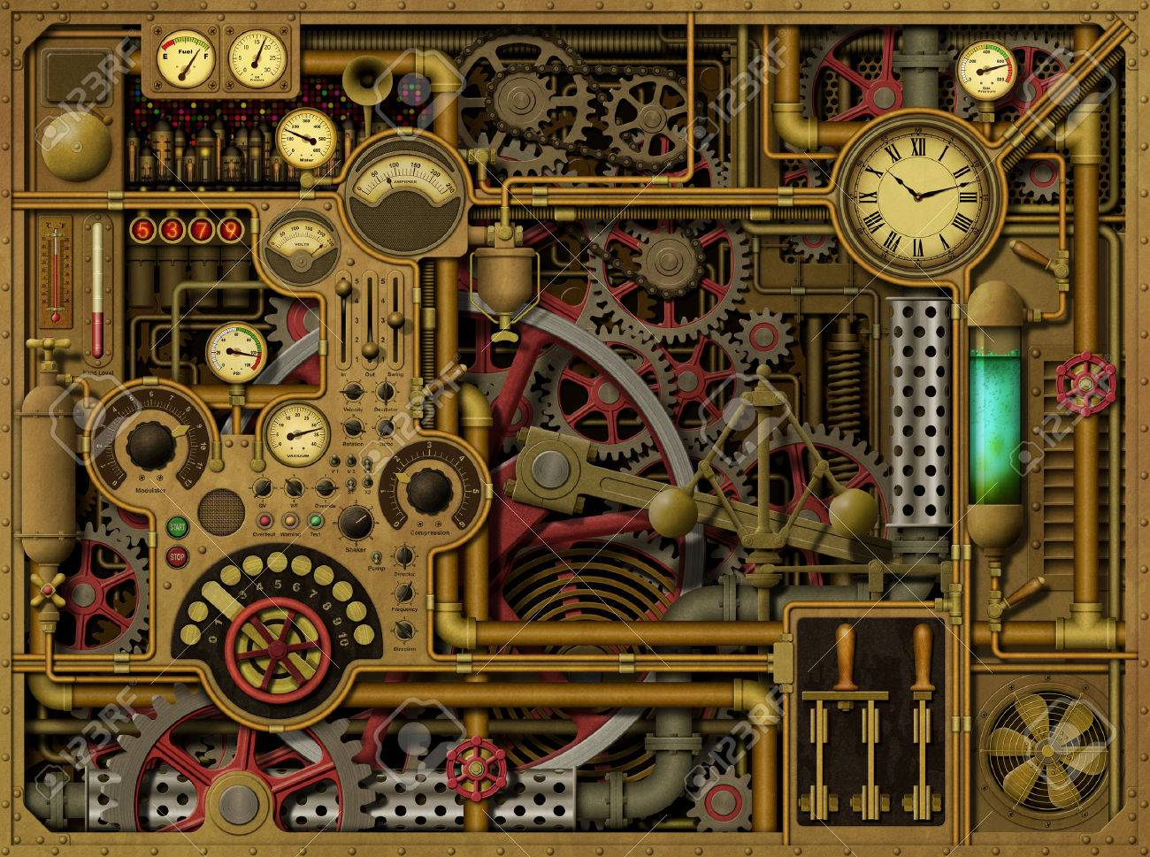 a steampunk background with clocks dials gears and cogs pipes