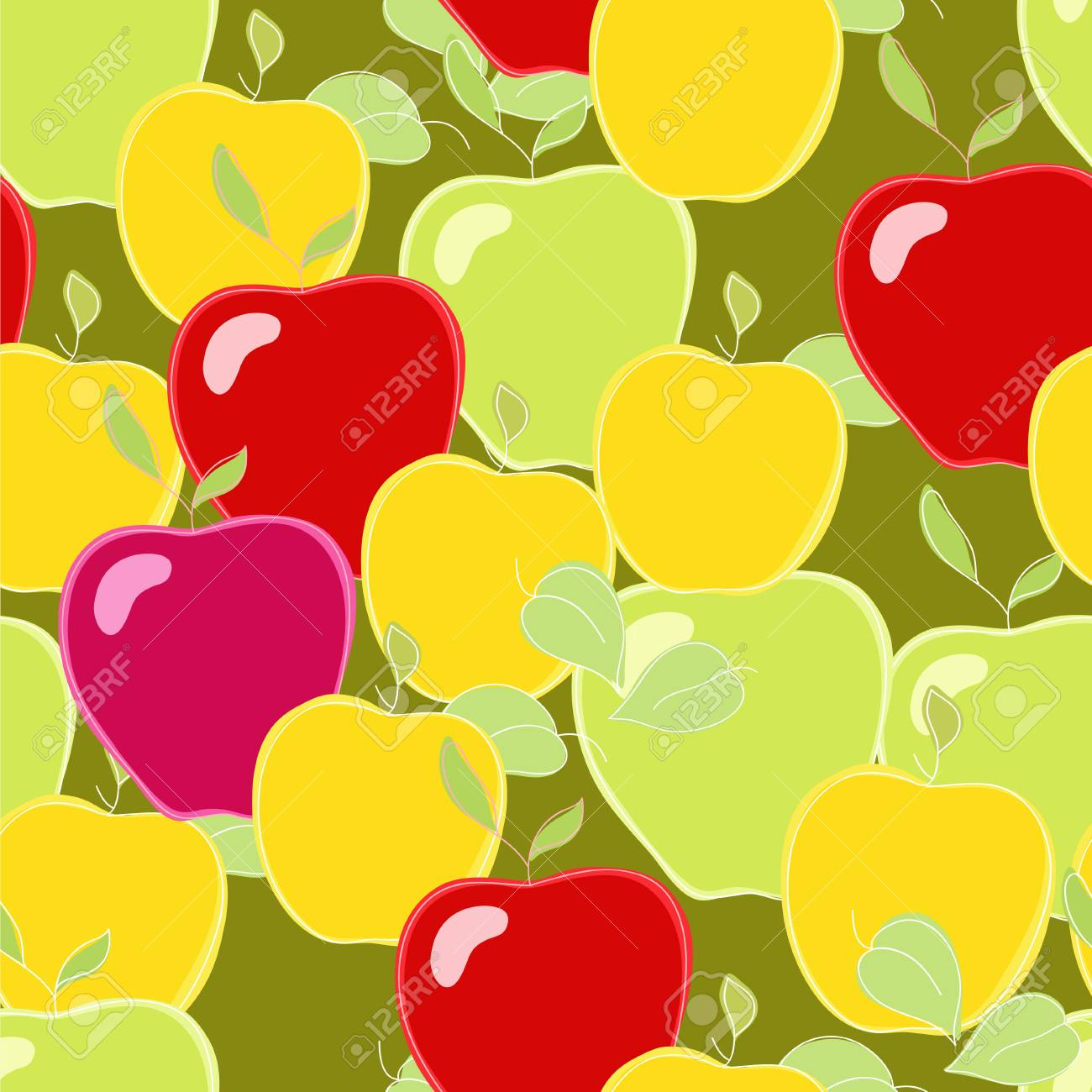 Yellow and red autumn apples Stock Vector - 21642531