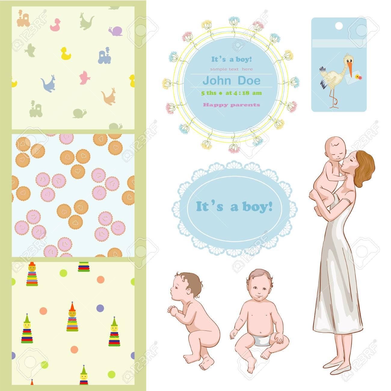 Mama Mit Sohn Und Rahmen Für Baby-Dusche Lizenzfrei Nutzbare ...