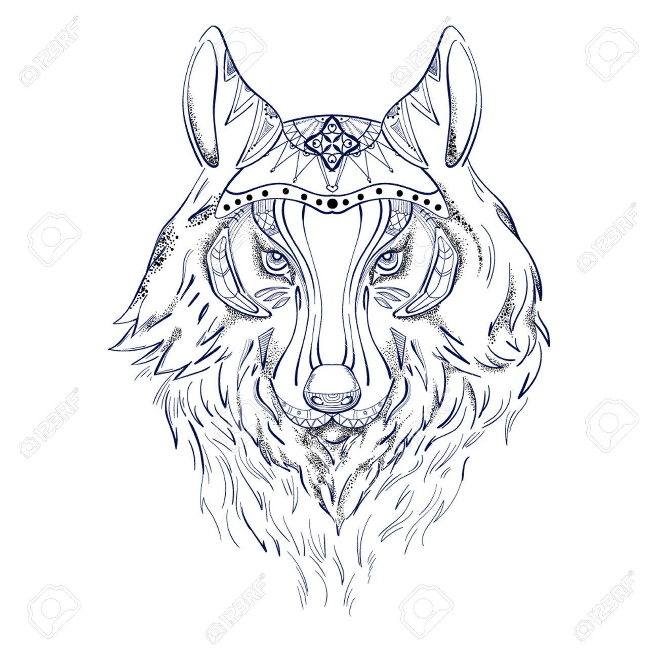 Wolf In Color For Tattoo Royalty Free Cliparts Vectors And Stock Illustration Image 69243299