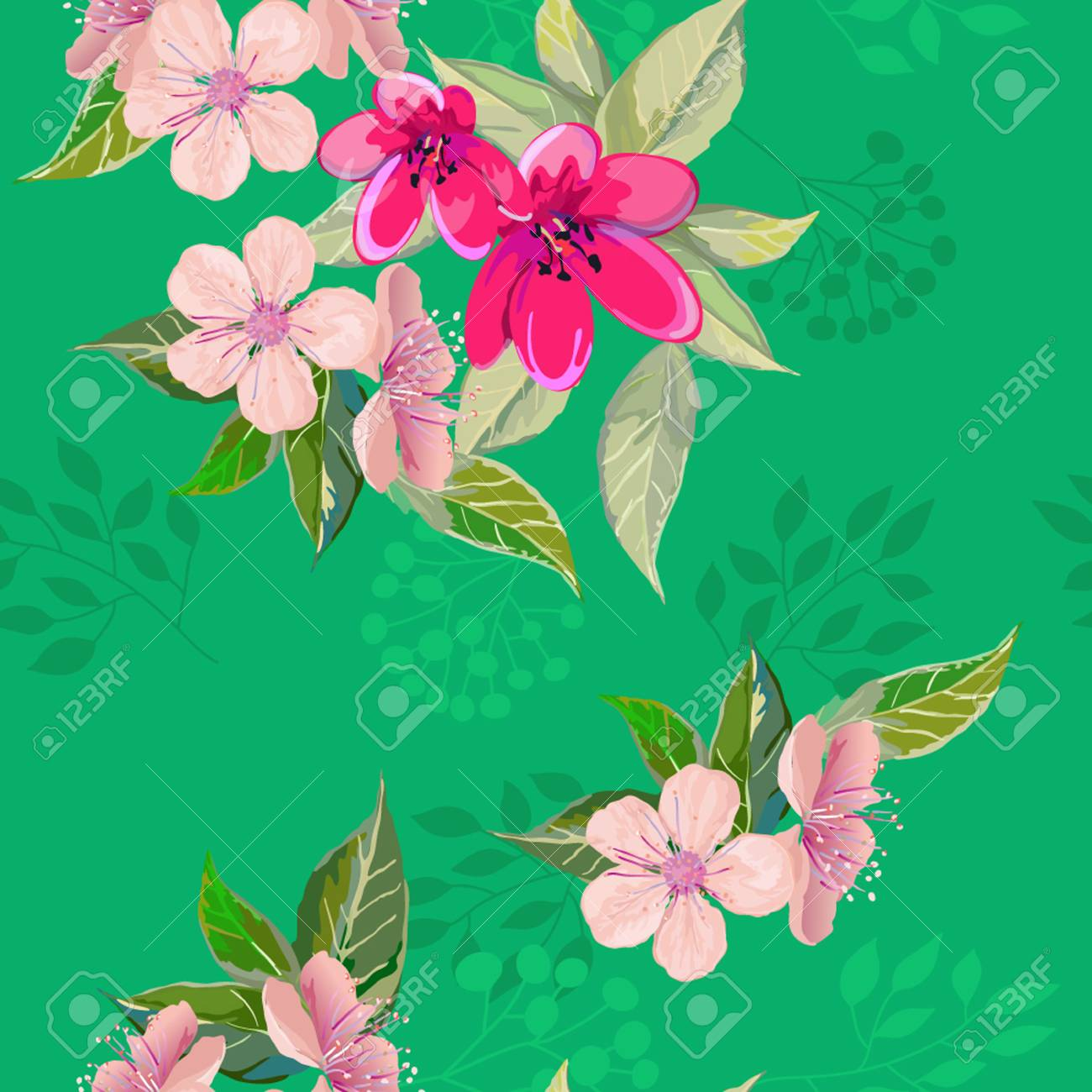 Bright Spring Flowers On Seamless Royalty Free Cliparts Vectors