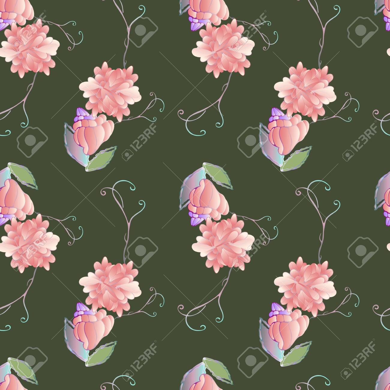 Pattern for summer textile with style flowers, pink roses, drawing..