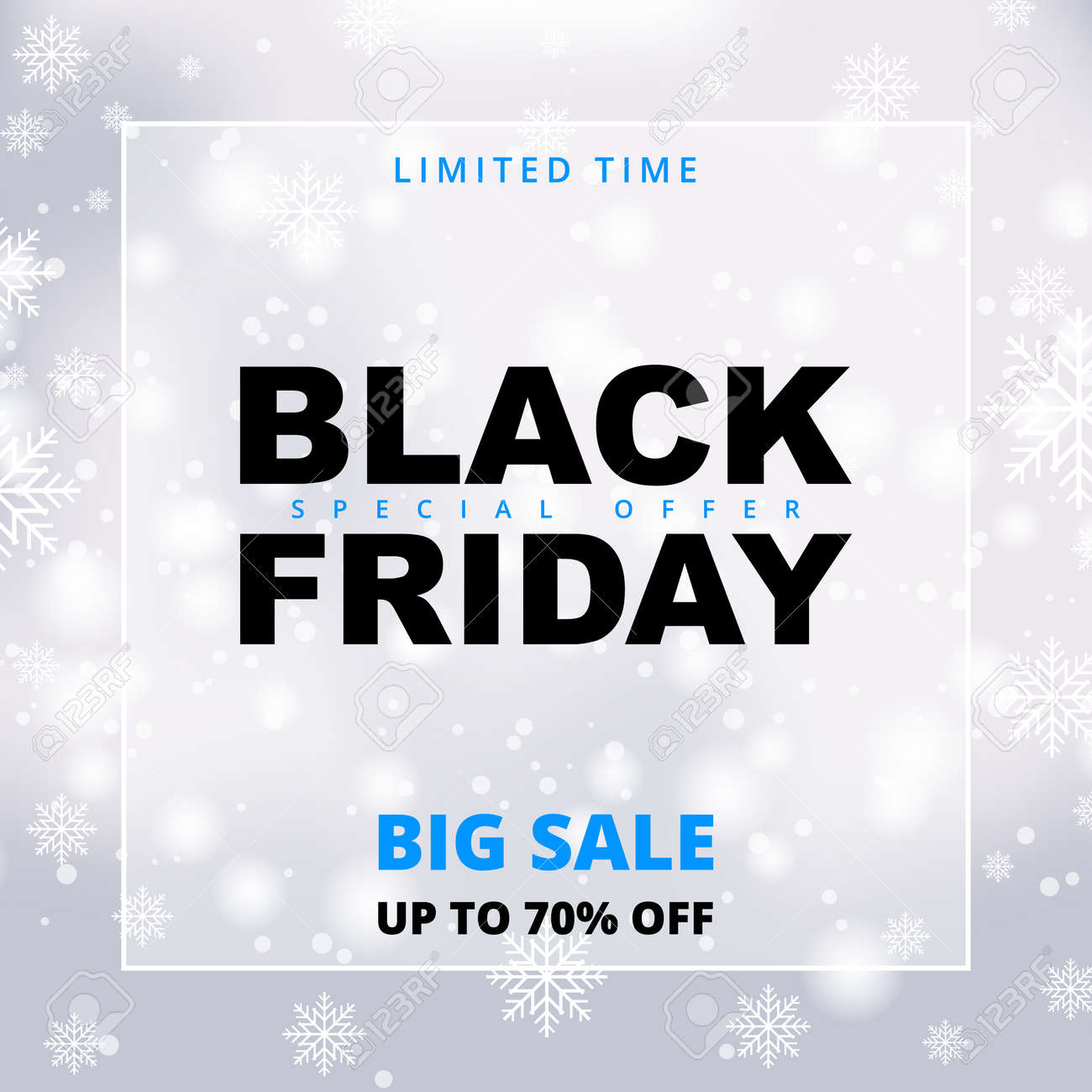 Black friday snowy sale promotion banner. Black friday winter white sale banner template. - 156717556