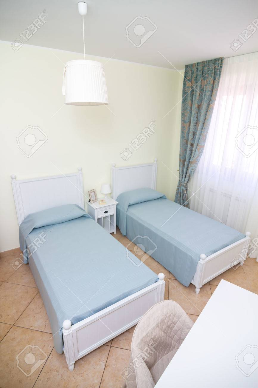 Double Room In White Style With Separate Beds Stock Photo   44469768