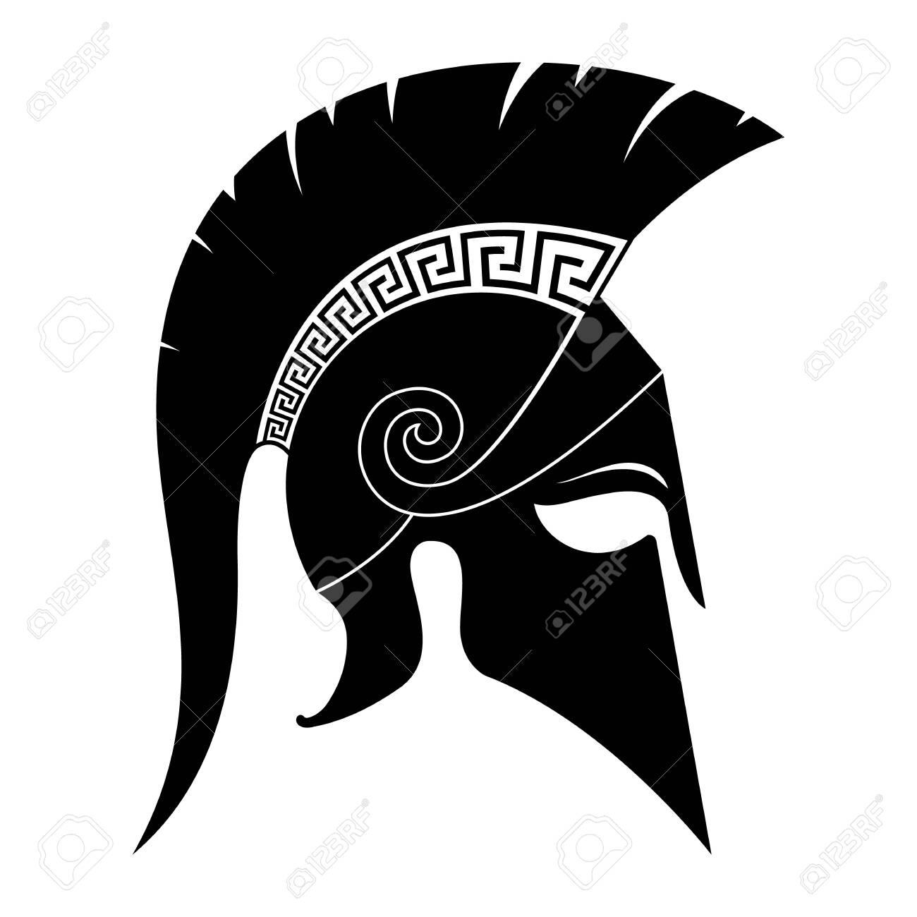 Black spartan helmet icon. Vector illustration. - 149379965