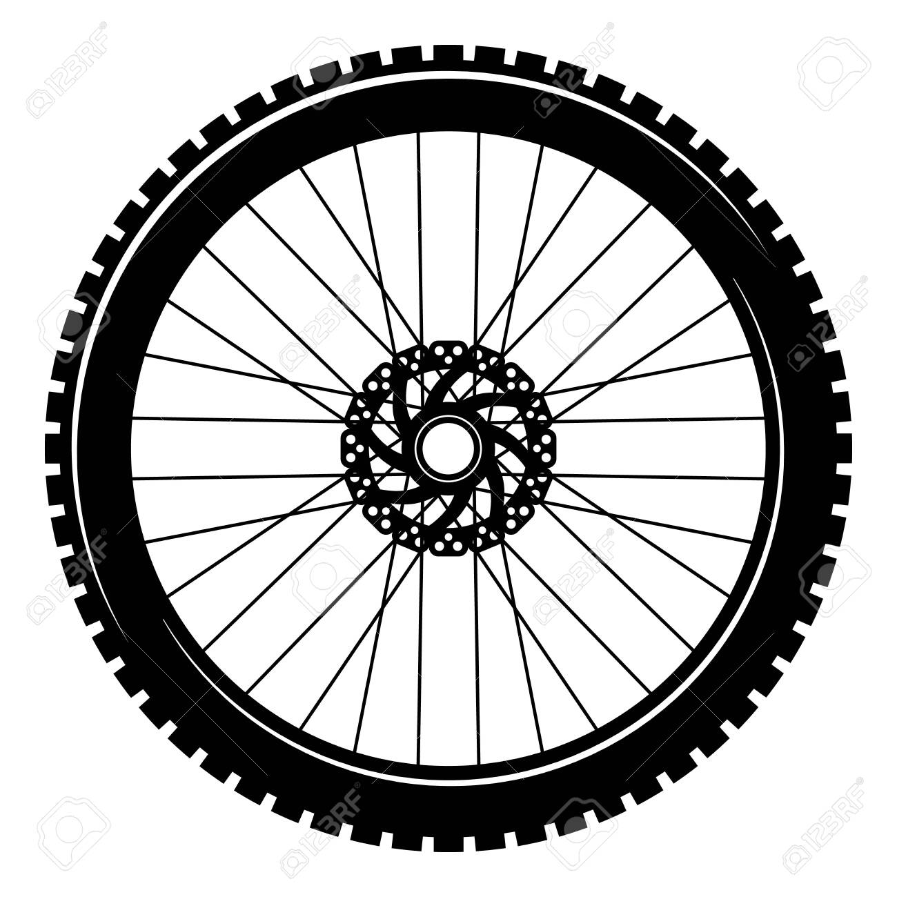 Bicycle wheel isolated on white background. Stock vector illustration - 149380210
