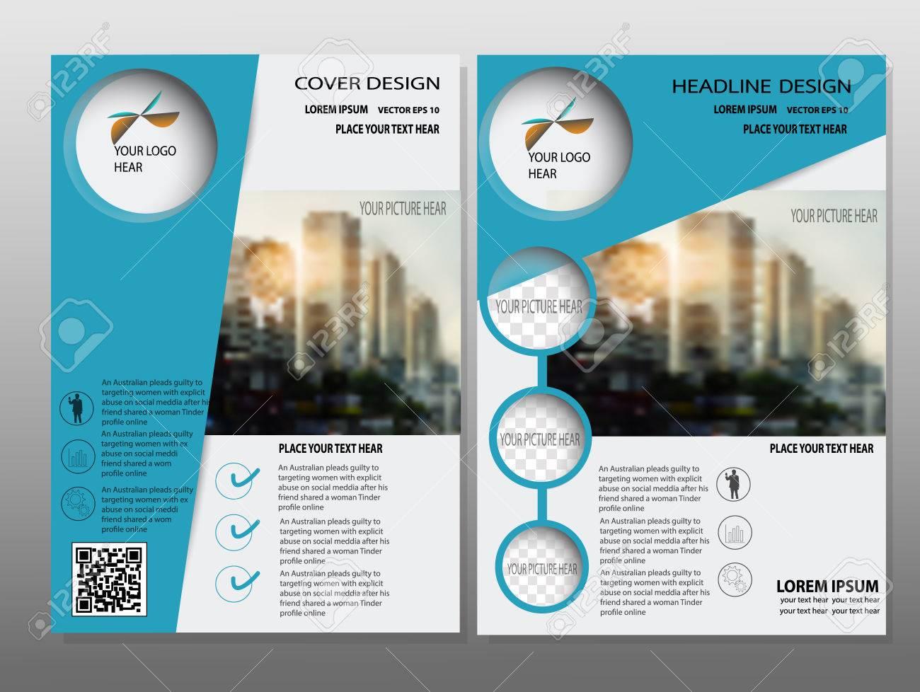 Azul Informe Anual Folleto Del Vector Plantilla De Diseño De ...
