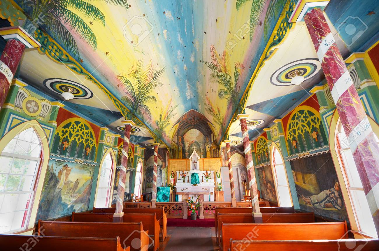 interior of church painted with biblical scenes in hawaii big