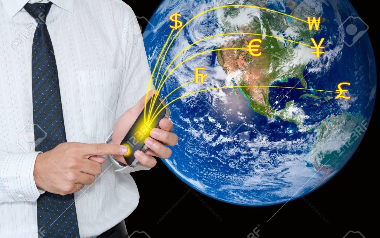 Businessman transfer moneys via mobile phone Stock Photo - 10449258
