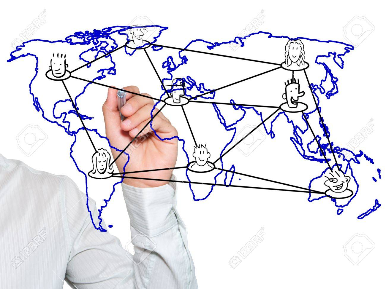 Teacher writing social network connection on world map Stock Photo - 10449245