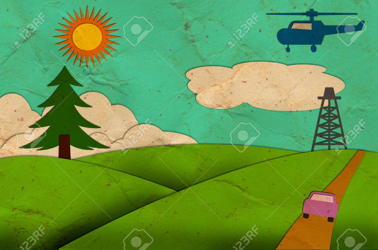 Rural view of recycled paper craft stick on white background Stock Photo - 10477729