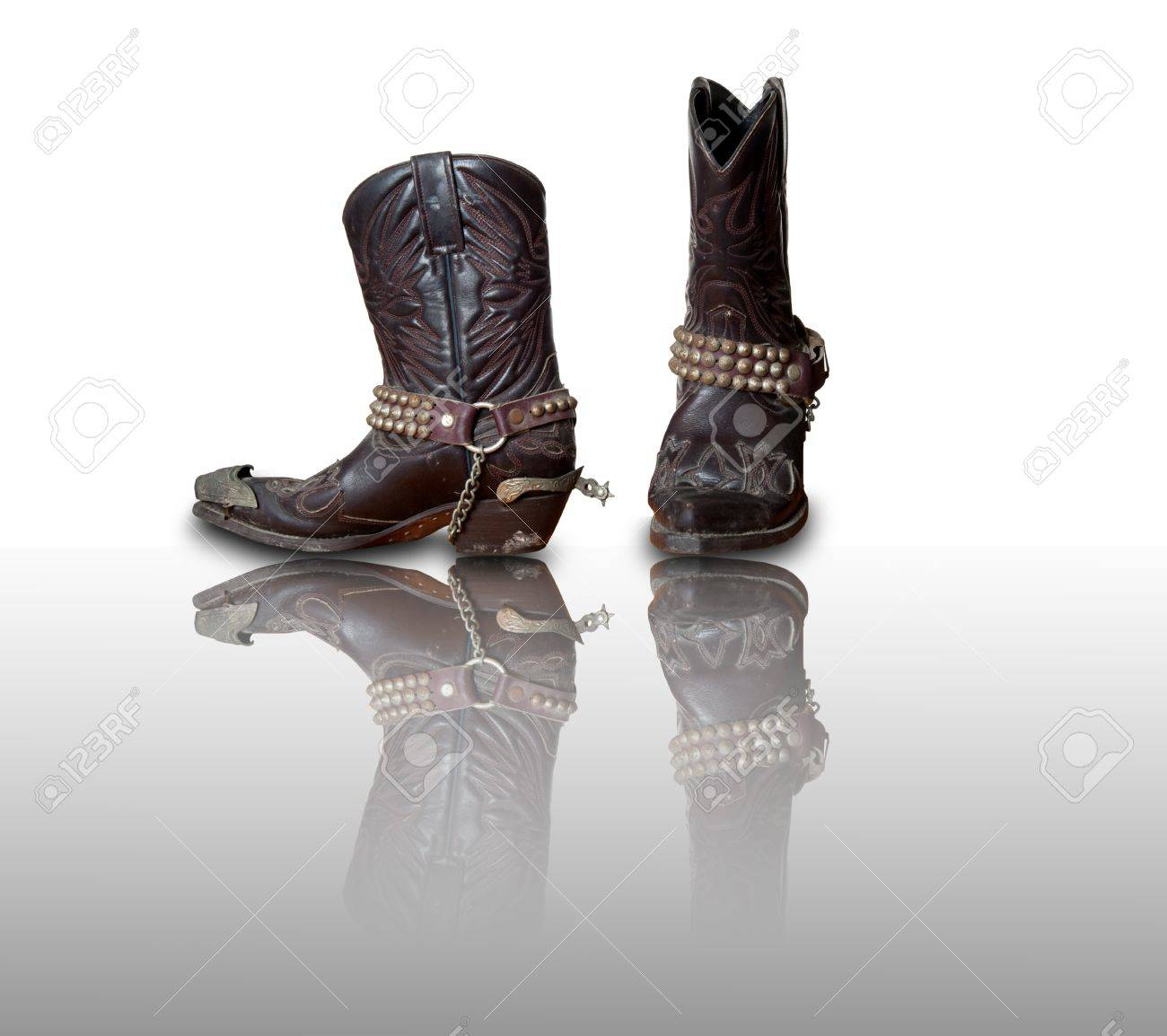 Retro Cowboy Boots With Refleciton Stock Photo, Picture And ...