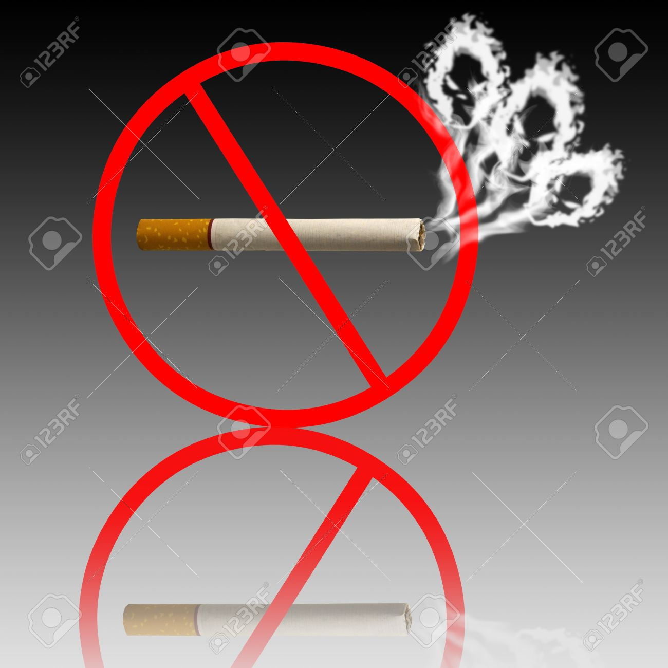 Do not smoke sign skull shaped smoke comes out from cigarette Stock Photo - 10714848