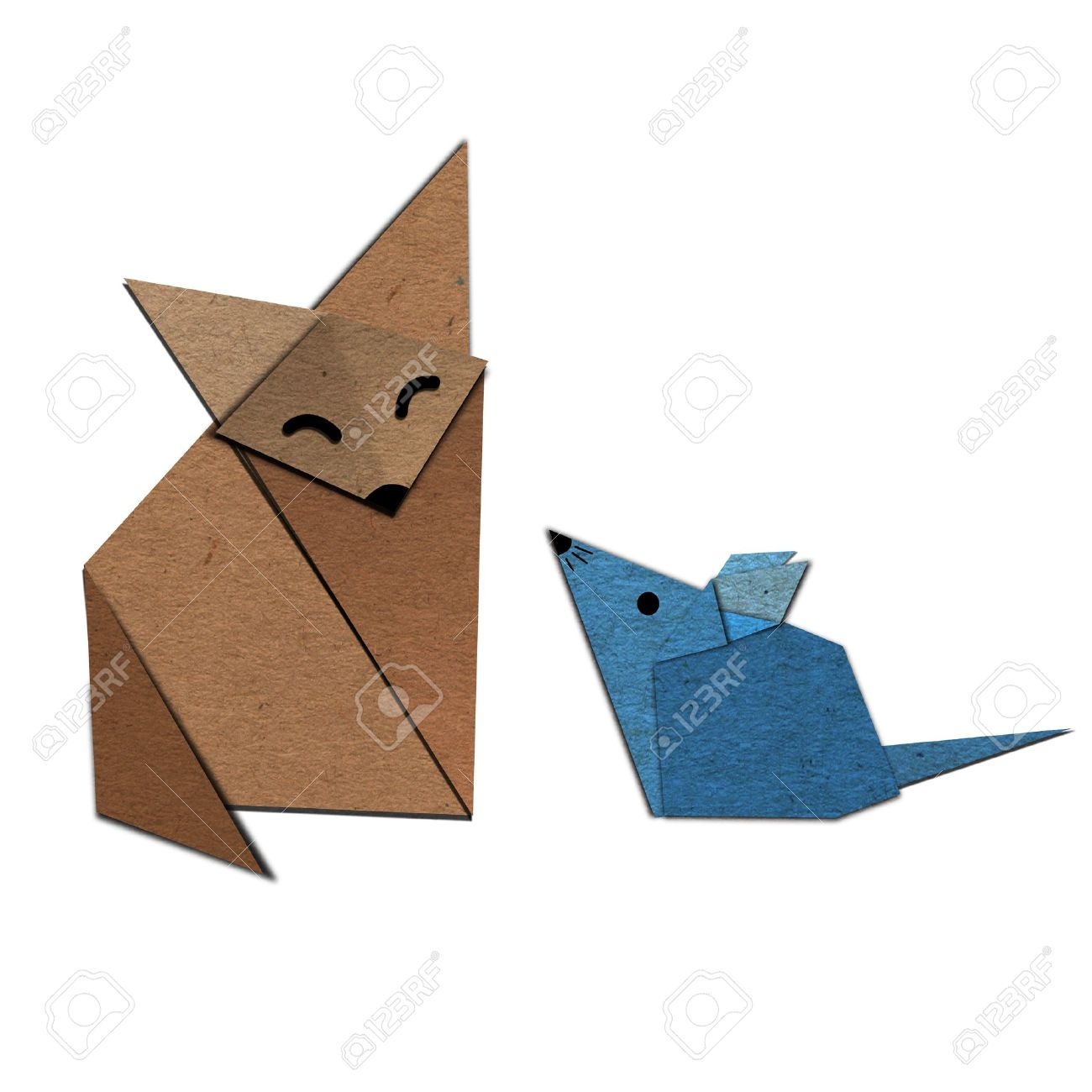 Origami of fox and rat form recycled paper stock photo picture origami of fox and rat form recycled paper stock photo 14956184 jeuxipadfo Images