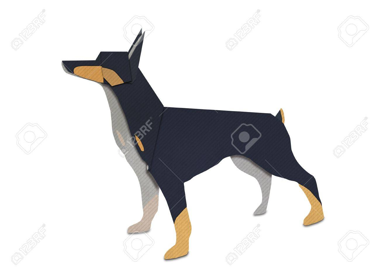 Origami of Dobermann form recycled paper Stock Photo - 14956173